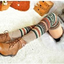 Women Bohemis Crochet Knitted Long Leg Warmers Spring Patchwork Knee High Warm