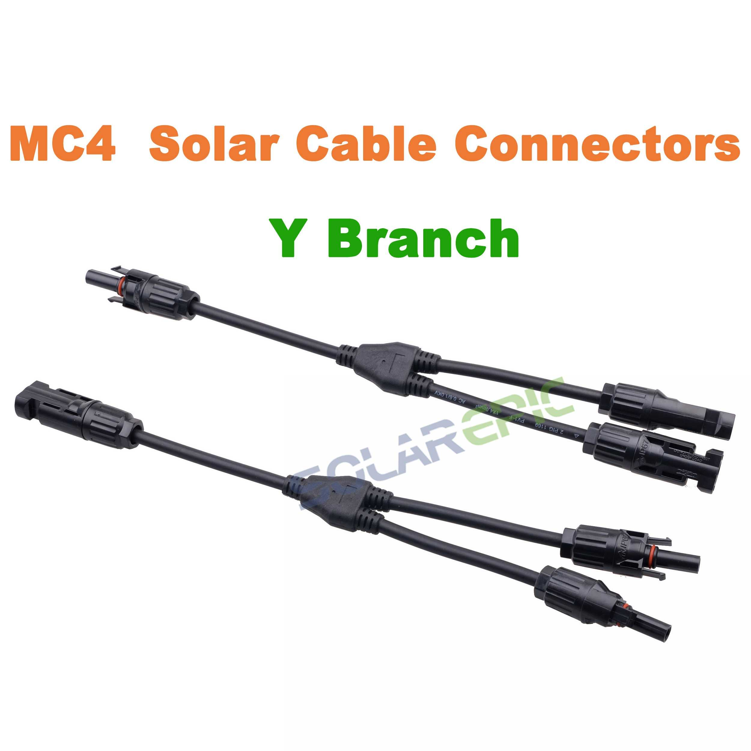 1 Pair MC4 Y Branch Connectors Cable Solar Panel Cable Connector MC4 Cable Conectores MC4 Solar Panel Cable Connector Waterproof