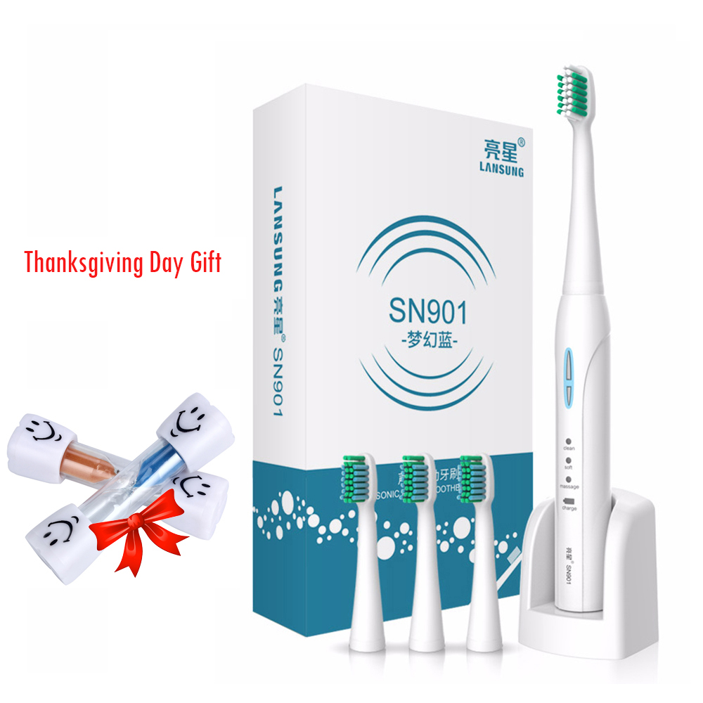 LANSUNG SN901 Sonic Electric Toothbrush 4 Pc Replacement Heads 2 Minutes Timer Tooth Brush lansung sn901 electric toothbrush sonic ipx7 waterproof dupont bristles teethbrush replacement heads timer brush teeth care kid