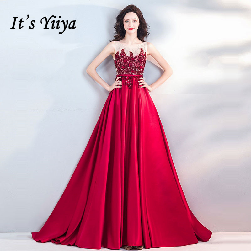 It's YiiYa   Evening     Dress   2018 Wine Red Beading Sleevless Train O-neck Plus size Deep Blue Pink Black LX1159 robe de soiree