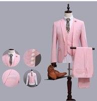 2017 gençler Moda Pembe Erkekler Stil Slim Fit Suits erkek Takım Elbise Ceket Blazers Düğün Damat Balo Smokin Resmi 3 parça