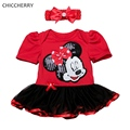 Shining Paillette Minnie Lace Tutu Baby Girl Dresses Headband Kids Clothes Vestido Bebe Infant Dress Toddler Birthday Outfits