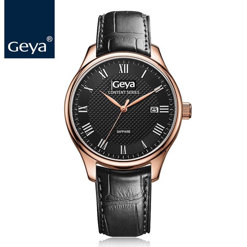 6b9f9fd7d94 Geya 2018 Nieuwe Fashion Design Mannelijke Horloge Luxe Merk Japan MIYOTA  Quartz Klok Business Rvs Waterdicht