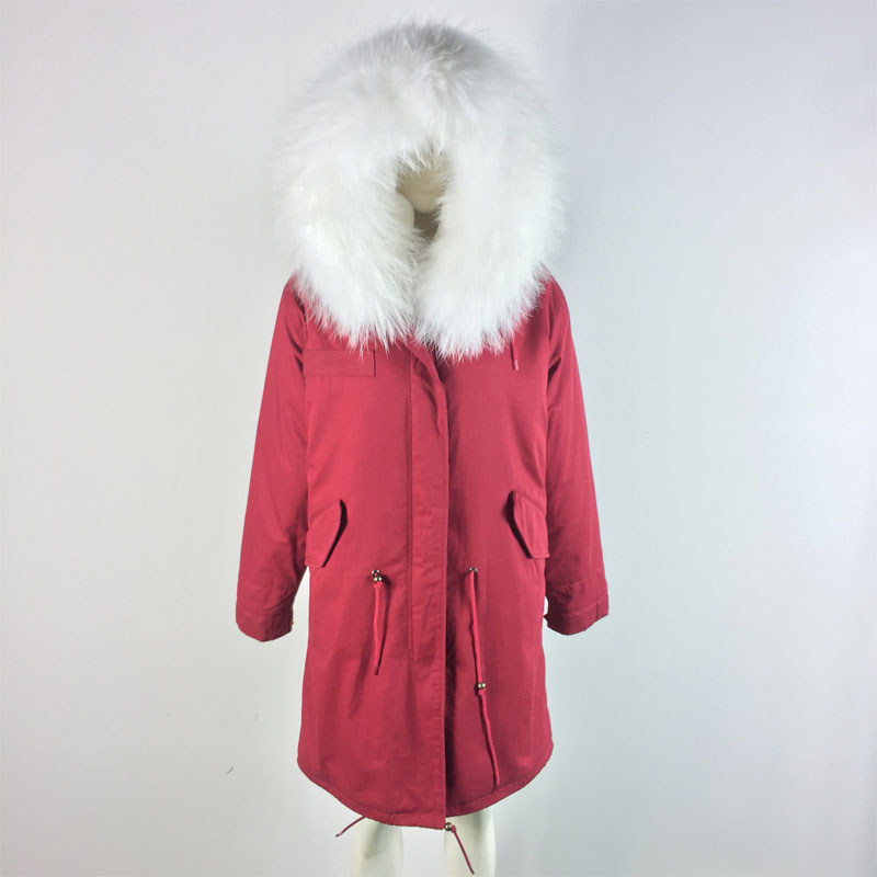 Merry Christmas! New Style Red Winter Jacket with White Fur inside,big size raccoon Collar unisex Fur Parka