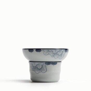 和風セラミック磁器茶リークティーストレーナーオフィスカップカンフー茶セットハンド塗装ハイビスカスの花フィルターアクセサリーギフト|gift gifts|gift accessoriesgift tea sets -