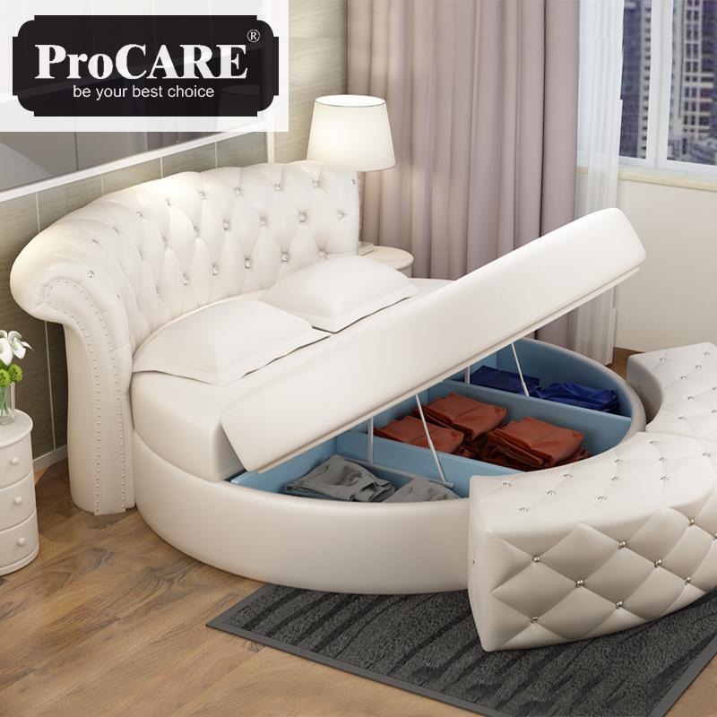 Heißer Verkauf Runde Leder Bett In Verschiedenen Farbe Für Home Oder Für Hotel