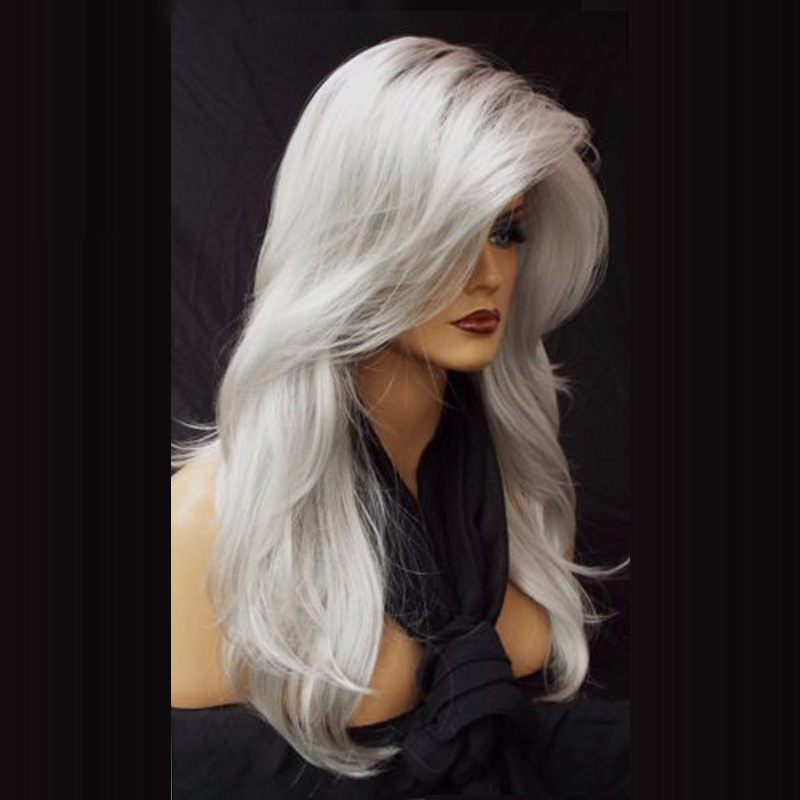 Anogol Silver Grey Ombre Dark Roots Side Part Long Natural Wave Synthetic Wig For White Women