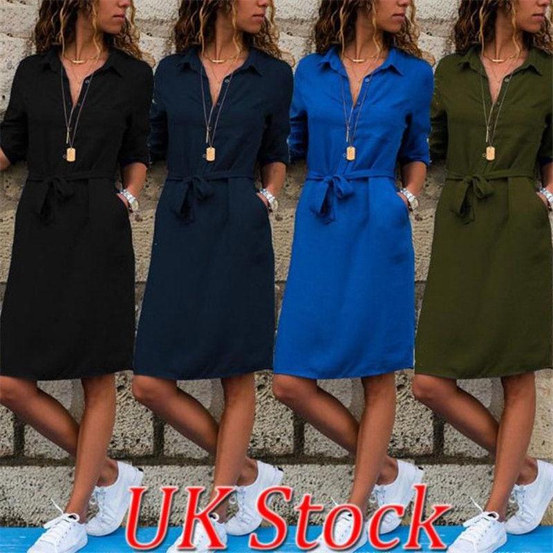 Three Quarter Sleeve Shirt Dress 2019 Summer Dresses Women Casual Solid Color Dress Office Lady Vestidos