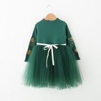 Kids Girls Dress Autumn Long One Piece Baby Cotton Chiffon Dresses For Girl Children Lace Tutu