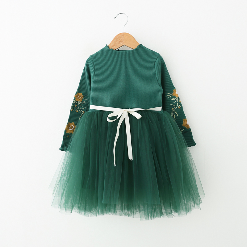 kids girls dress autumn long one-piece baby cotton Chiffon dresses for girl children Lace Tutu dress 6Y fashion Princess costume girls dress winter 2016 new children clothing girls long sleeved dress 2 piece knitted dress kids tutu dress for girls costumes