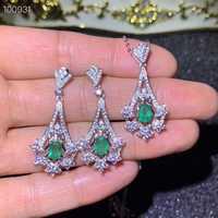 Natürliche grüne smaragd Anhänger Ohrringe Natürliche Edelstein Schmuck Set S925 Silber, Die Fan Aushöhlung Frauen party geschenk schmuck