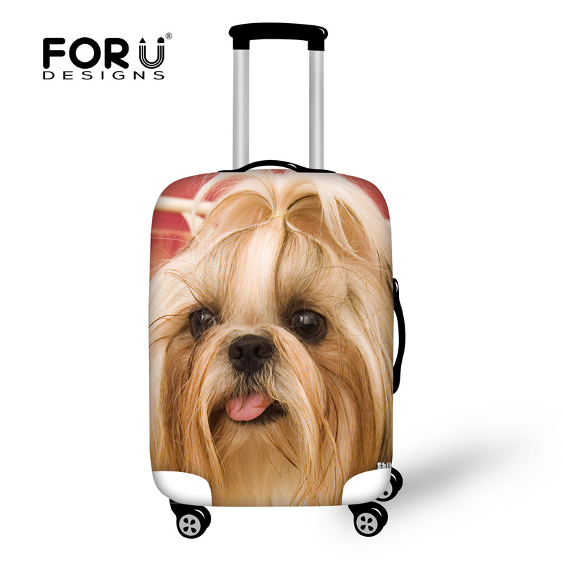 FORUDESIGNS Cute Dog Cat Print Suitcase Protective Cover,Stretch Waterproof Luggage Covers to 18-28 Suit Case Travel Accessories
