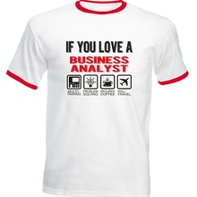 22fe07e6b73 BONJEAN Business Analyst - Red Ringer Tshirt 2018 Short Sleeve 100 % Cotton