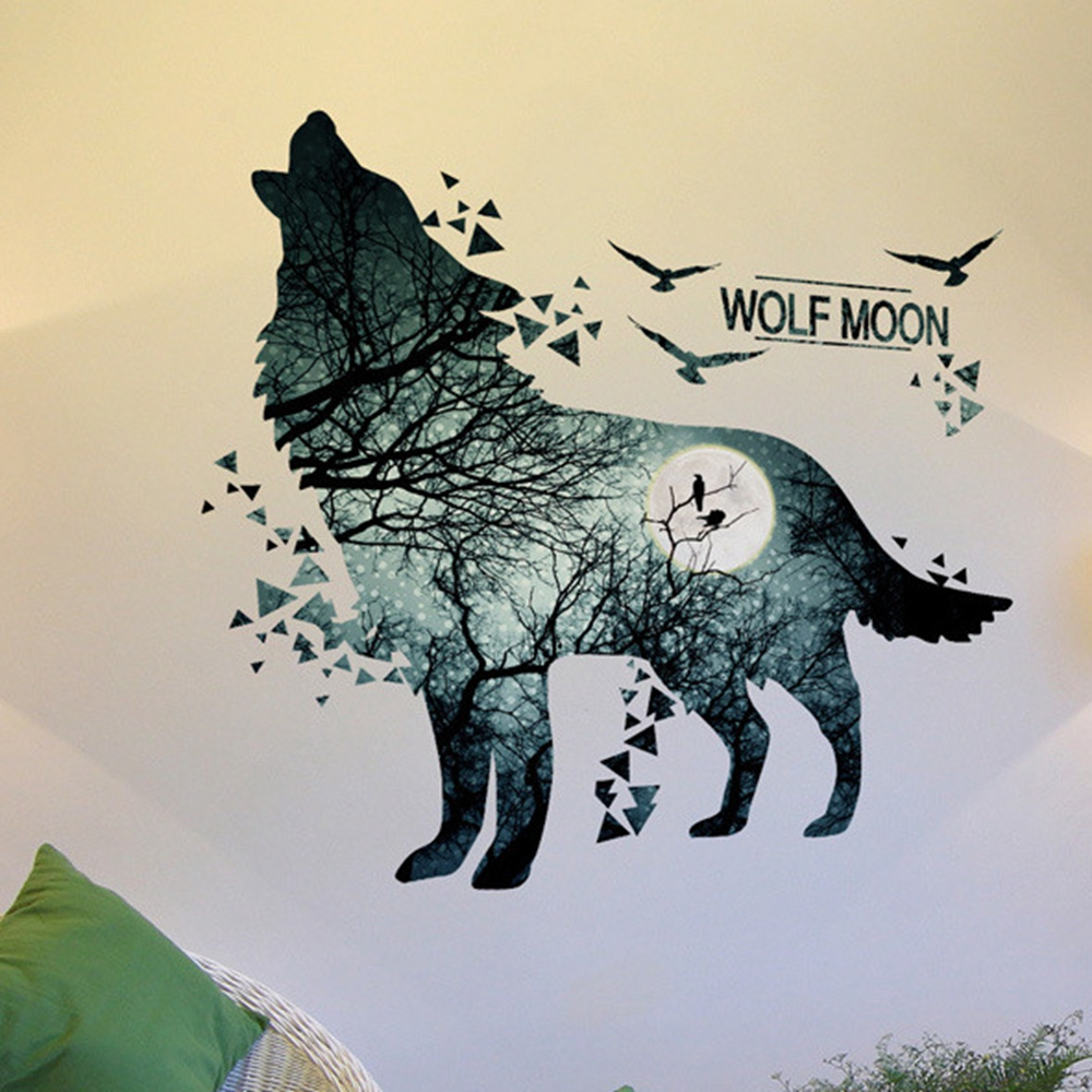 online shop wolf moon wall stickers pvc material diy forest tree