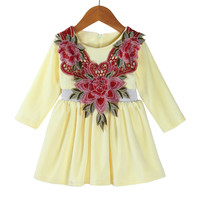 MUQGEW Velvet Flower Girls Dresses For Party And Wedding Floral Warm Soft Princess Dress Outfits Clothes
