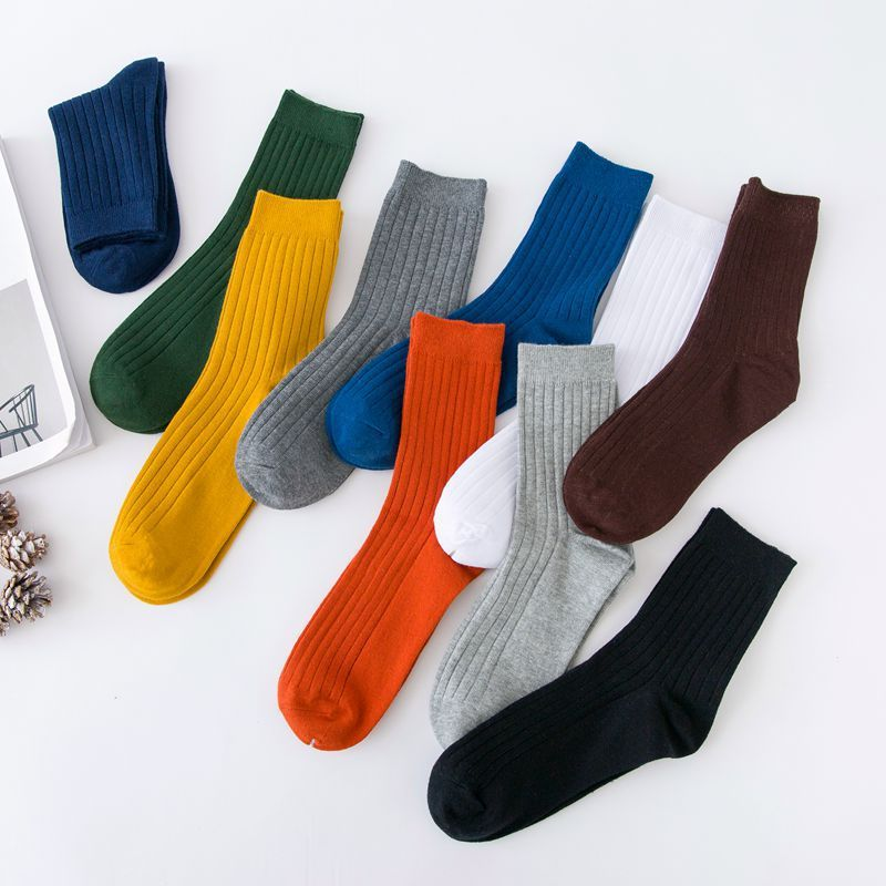 New Colorful Men 's Business Socks In The Tube Socks Pure Cotton Thick Retro Pure Color Autumn And Winter Socks Wholesale