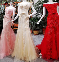 Red Pink Champagge Custom Made Real Photo Mermaid Flowers Appliques Sexy Evening Dresses Party Gowns Dress Evening Gown OS28