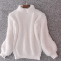 Lantern Sleeve Pullover Loose Thickened Female New Winter Sweater Angora Mohair Mink Collar Height