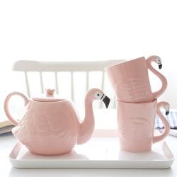 תוספות ורוד פלמינגו ילדה קרמיקה מים כוס קומקום סט עם ידית בית סימן כוס Teaware שתיית סט