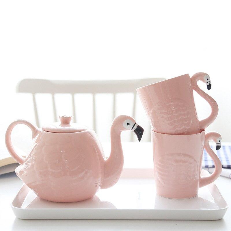 انس بينك فلامينجو فتاة السيراميك كوب ماء مجموعة براريد للشاي مع مقبض المنزل مارك كوب teبينة الشرب مجموعة