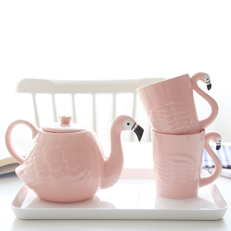 Ins Pink Flamingo Girl Ceramic Water Cup Teapot Set  With Handle Home Mark Cup Teaware Drinking Set