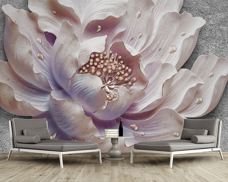 Custom Mural Wallpaper 3D Stereoscopic Relief Peony Jewelry Flower Wall Painting Study Bedroom Living Room Decor Photo Wallpaper