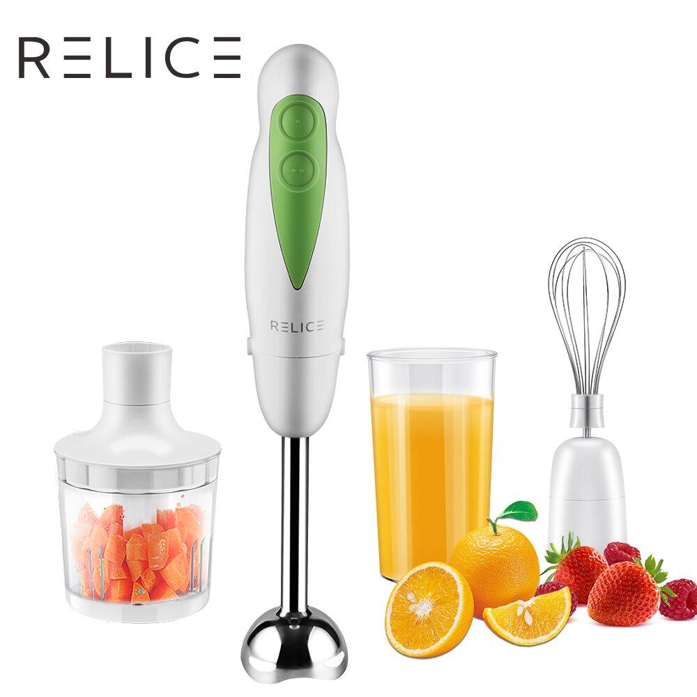 RELICE eléctrica batidora de mano traje con Chopper bigote taza multifuncional licuadoras fruta vegetal mano mezclador de cocina