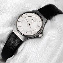51b3381d196 Nova TIME100 Relógios Femininos de Negócio Discar Ultrafino Pulseira de  Couro Preto À Prova D