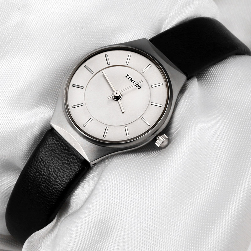 TIME100 montre femme ultra-mince cadran étanche noir blanc bracelet en cuir dames Quartz montres relogio feminino