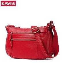 Kavis couro genuíno das mulheres bolsa de ombro feminina mensageiro bolsa senhora moda alta qualicidade marca vermelho crossbody para a menina