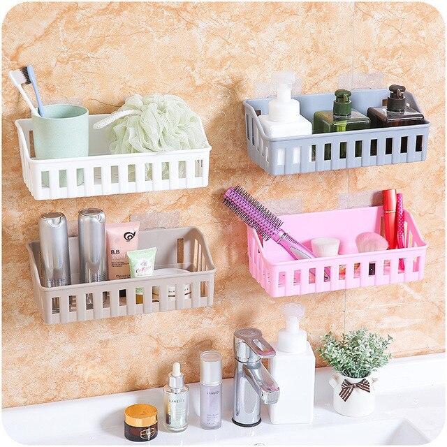 Kitchen Bathroom Drain Basket Storage Hanging Storage Racks Bathroom Wall  Cosmetic Make Ups Jewelry Sucker Storage
