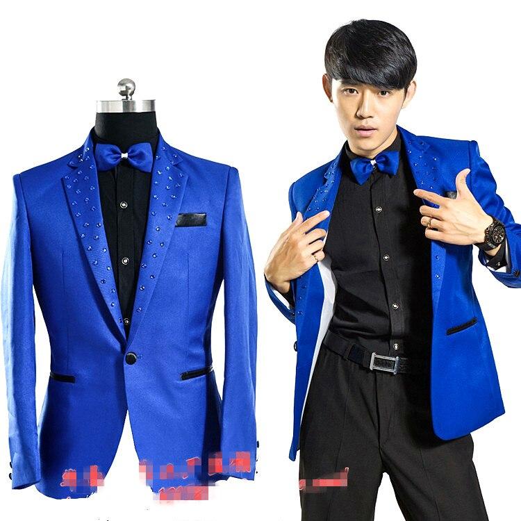 Royal Blue host Blazer jacketmale male costume Designer Fashion Men Casual Splicing Link Fence prom party for singer dancer