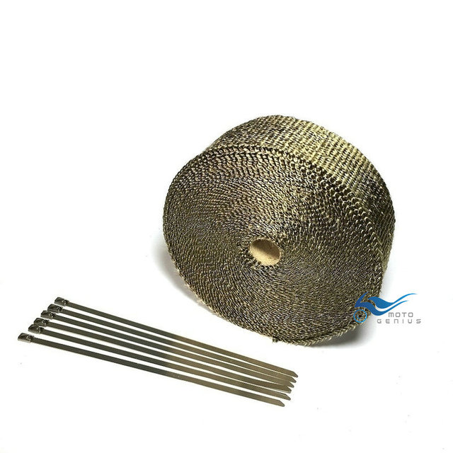 15M Lava Fiber Exhaust Wrap Tape Titanium Motorcycle Exhaust Header Exhaust Pipe Heat Wrap 6 Pcs Cable LockingTies