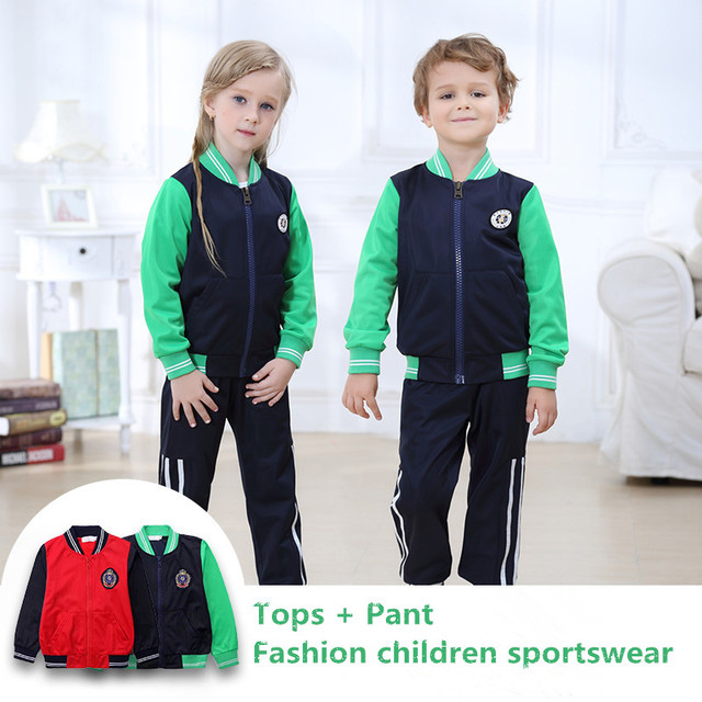 a60fbceed0c4 Детский школьный моды униформы детская спортивная одежда костюм  классического Обувь для мальчиков против морщин бейсбольная одежда