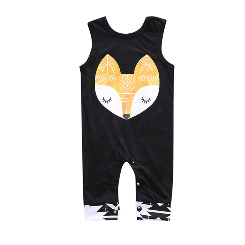 Cotton Newborn Baby Boys Clothes Fox Printed Baby Rompers