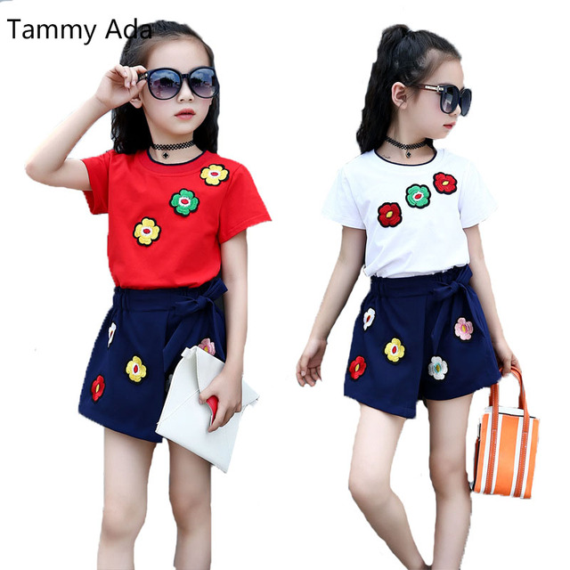 180637a6c4eb Tammy Ada Summer Clothing Sets For Girls Outfits Flower T Shirts ...