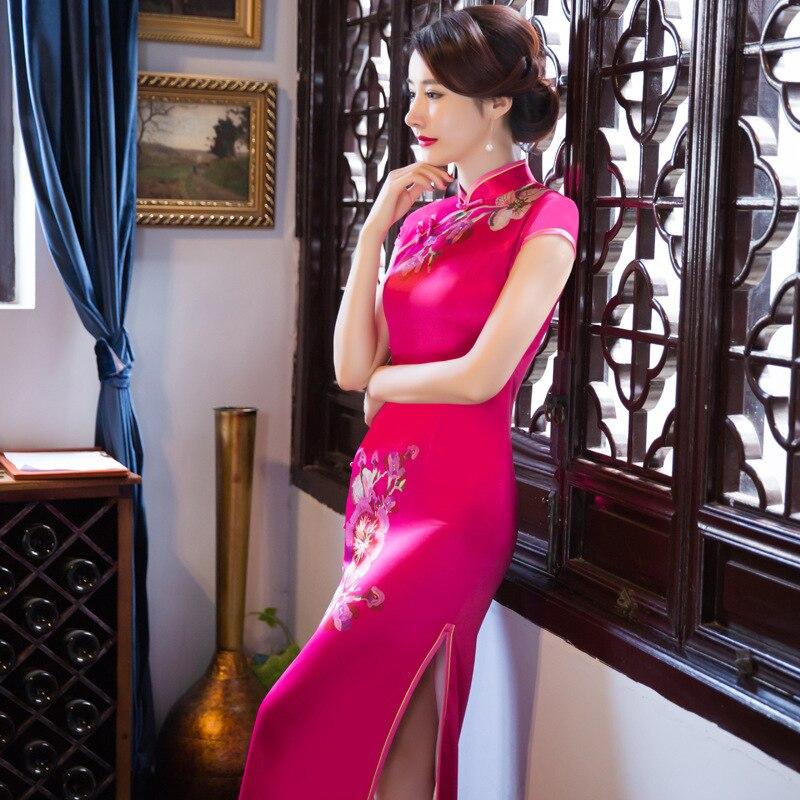 Hot pink font b Women s b font Silk Cheongsam font b Fashion b font Chinese