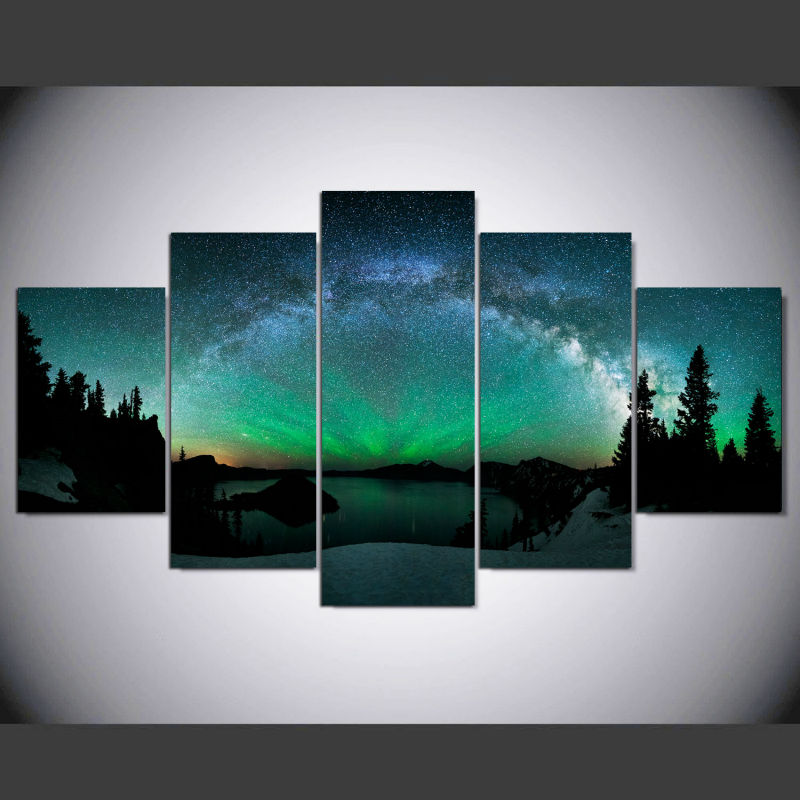 DAFENJINGMO ARTS 5 Piece canvas art Print over Aurora