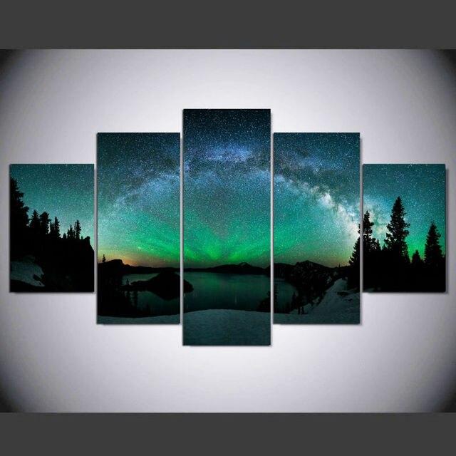 Popular DAFENJINGMO ARTS 5 Piece canvas art Print over Aurora Painting  PP07