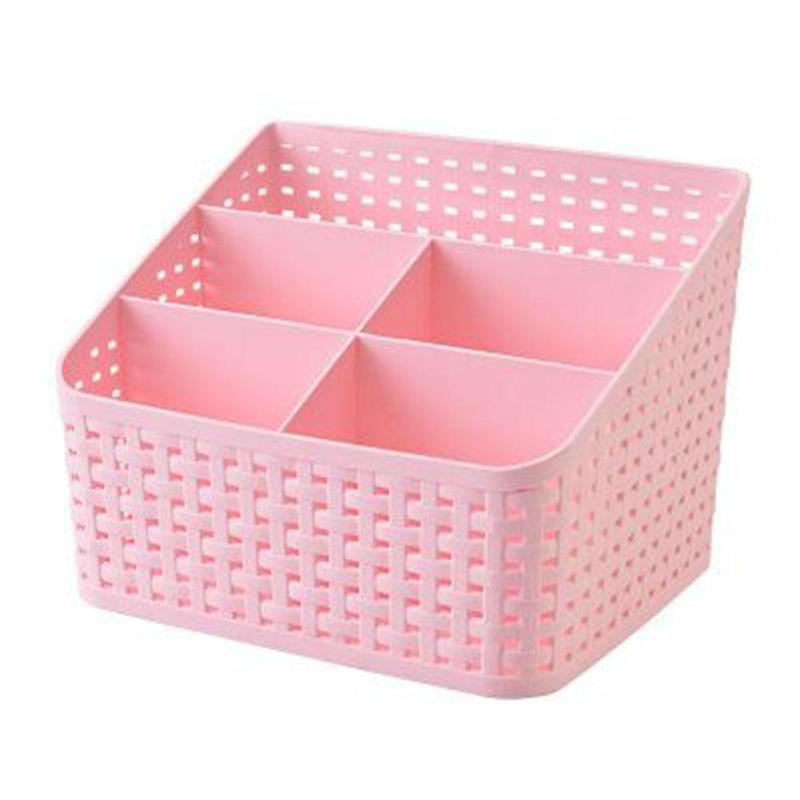 1PC Home Living Room Storage Box Remote Control Basket Bedroom Kitchen Desktop Grid Cosmetics Box Makeup Organizer V3