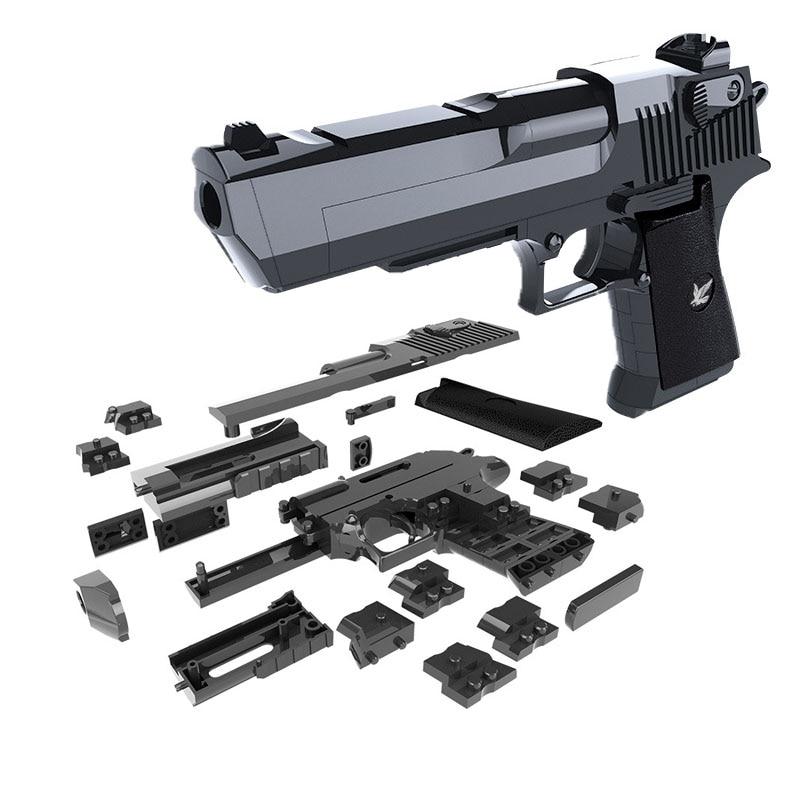 DIY строительных блоков Игрушечный Пистолет Desert Eagle сборки игрушка головоломки игры мозг Модель может стрелять пулями (маш) с инструкцией книги