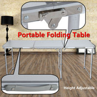 ZDZ 180 Aluminum Portable Adjustable 180cm 6ft Folding Trestle Table Carrying Handle For Outdoor Camping Home