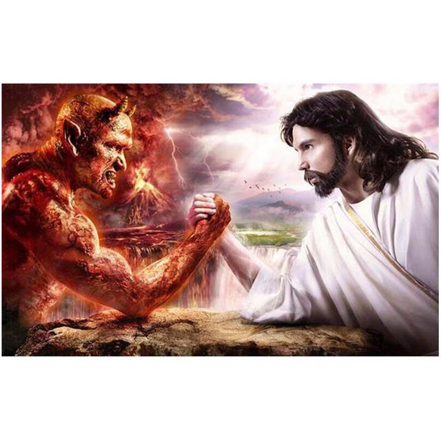 online shop jesus vs demon new 5d diy diamond painting embroidery