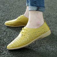 Summer Flat Shoes Woman Candy Colors Platform British Style Casual Creepers Cut Outs Breathable Shoes Women