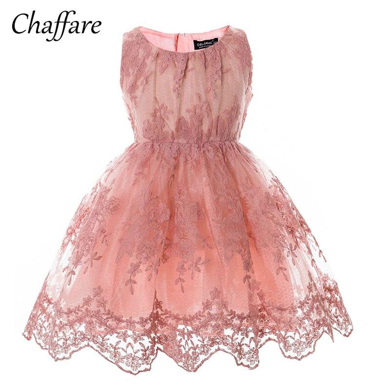 Chaffare Rosa Niñas Encaje flor vestido niños vestidos de lujo ...