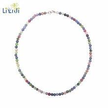 Lii Ji Танзанит ожерелье из турмалина натуральный драгоценный камень 4 мм бусины 925 пробы серебро колье ожерелье для женщин Изысканные ювелирные изделия