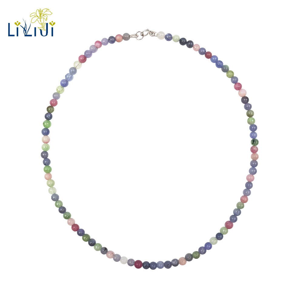 Lii Ji Natural Tanzanite Tourmaline Necklace Genuine Gemstone 4mm Beads 925 Sterling Silver Choker Necklace For Women Fashion