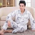 Мужские Пижамы Весна Осень С Длинным Рукавом Пижамы Хлопка Плед Кардиган Пижамы Мужчины Lounge Pajama Наборы Плюс размер Китайский Дракон