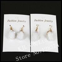 1 זוגות החדשה חמה אופנה קלאסית לבן druzy קוורץ סטון תליון אבן טבעית עגיל זהב עגיל לנשים