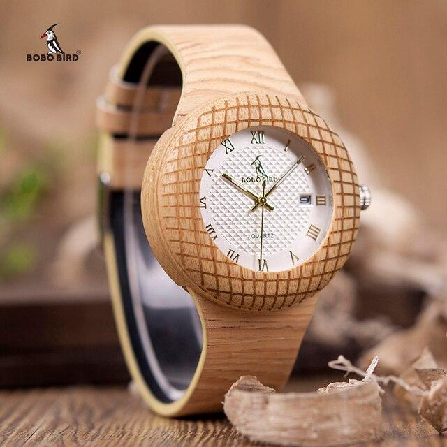 בובו ציפור עץ קוורץ שעון גברים נשים שעונים רצועת עור שעוני יד מתנות עץ תיבת W iQ17 זרוק חינם